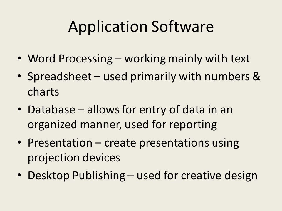 Application Software Word Processing – working mainly with text
