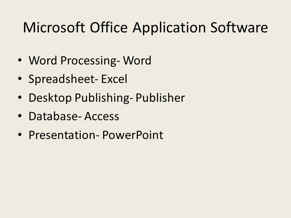 Microsoft Office Application Software