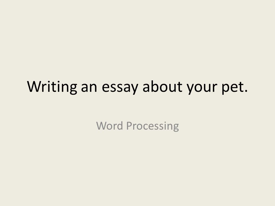 Writing an essay about your pet.