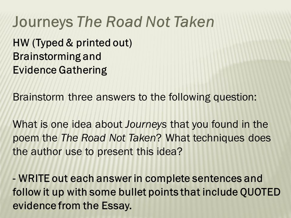 area of study journeys ppt  journeys the road not taken