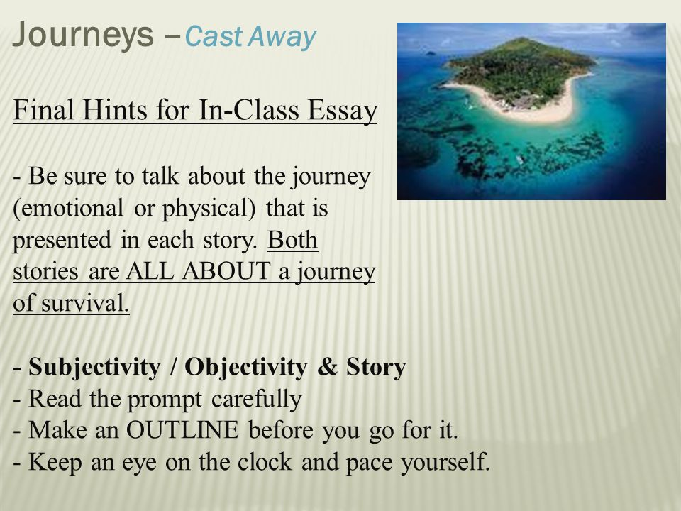 essay on journeys Creative essay my journey nicholas a capezza, florida, united states first published january 1, 1999 the greek playwright sophocles presented the following riddle.