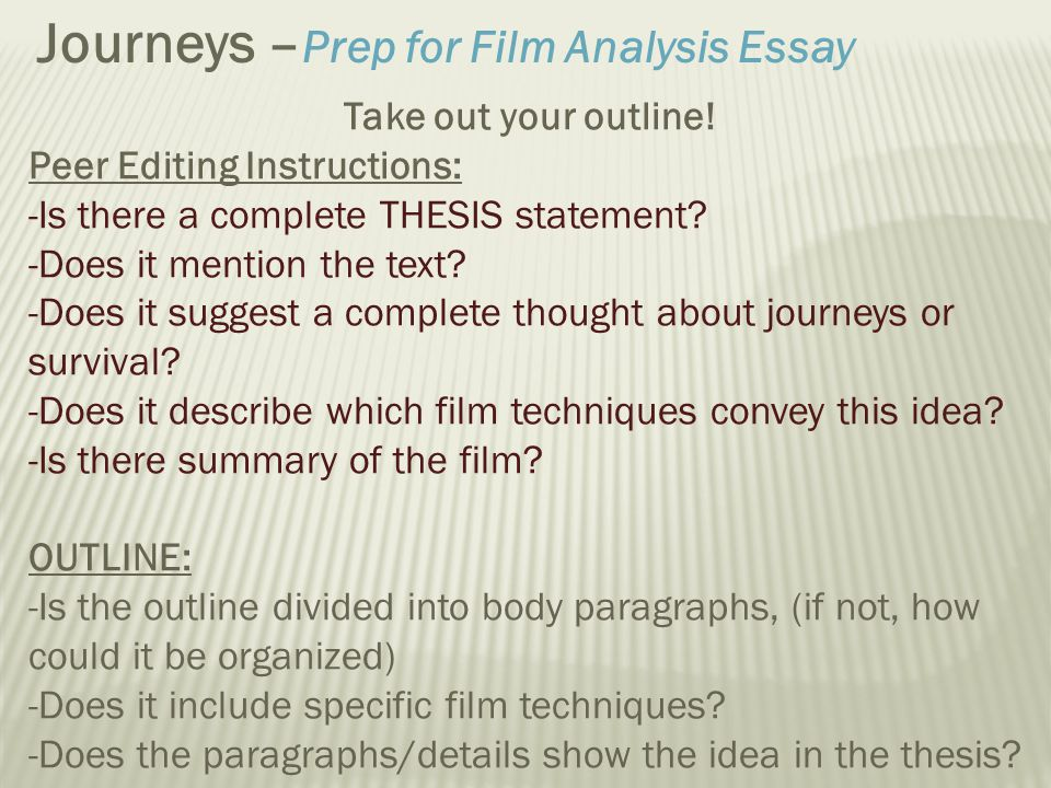 Examples of a movie scene analysis essay
