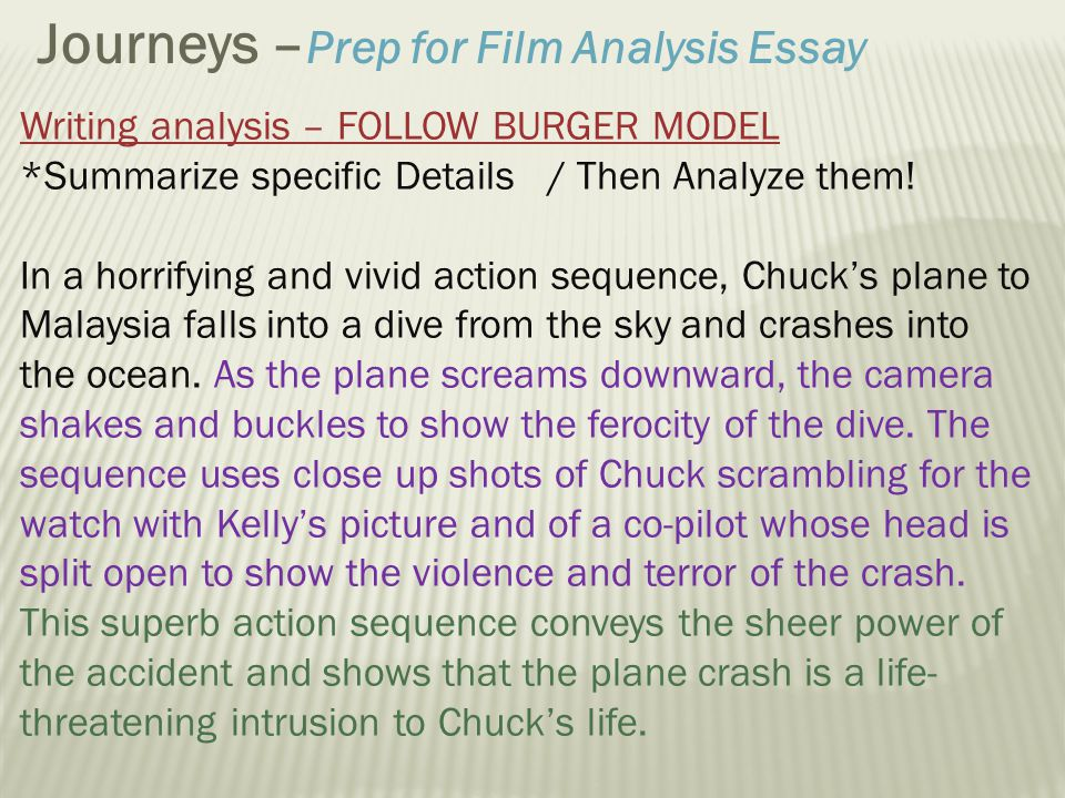 film sequence analysis essay Film 20a fall 2013 intro to film studies sequence analysis your assignment is to write a 1,000 word essay analyzing a selected sequence from chungking express.