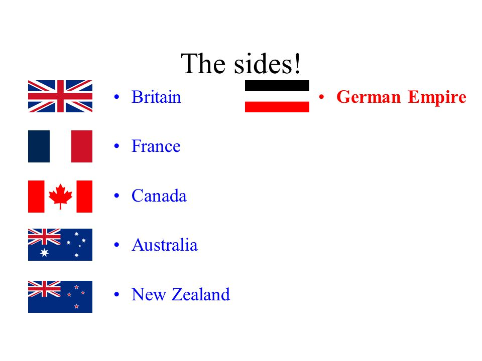 The sides! Britain France Canada Australia New Zealand German Empire