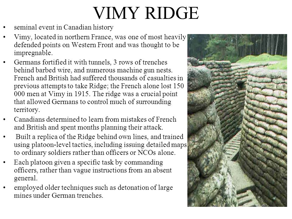 VIMY RIDGE seminal event in Canadian history