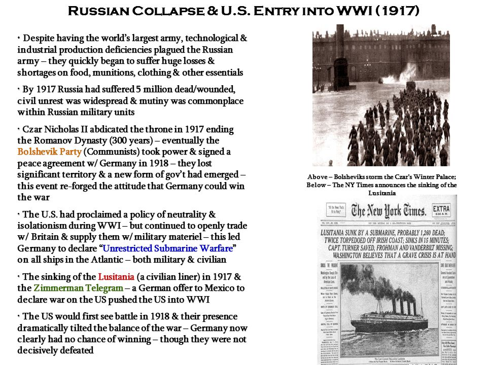 Russian Collapse & U.S. Entry into WWI (1917)