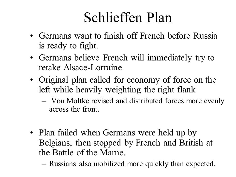 Schlieffen Plan Germans want to finish off French before Russia is ready to fight.
