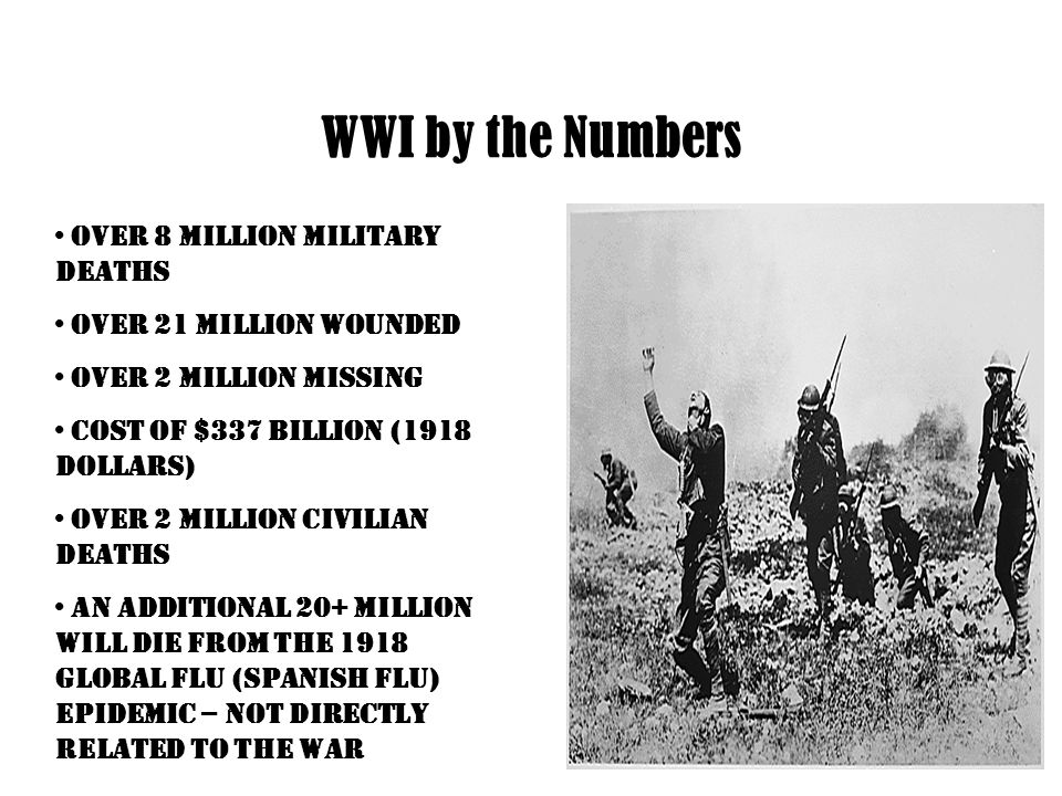 WWI by the Numbers Over 8 million Military Deaths