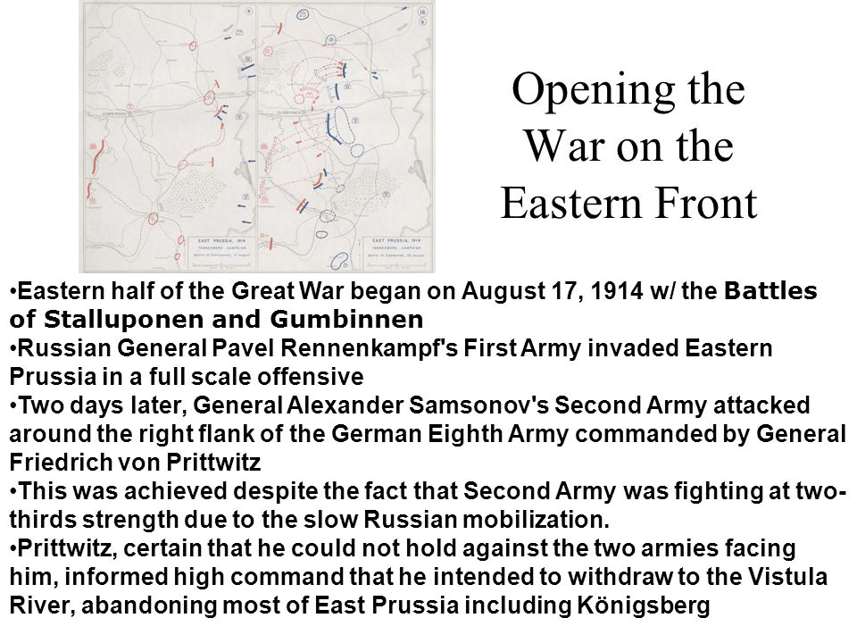 Opening the War on the Eastern Front