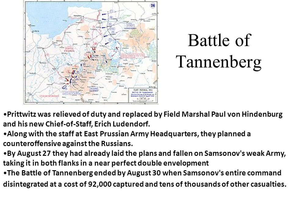 Battle of Tannenberg Prittwitz was relieved of duty and replaced by Field Marshal Paul von Hindenburg and his new Chief-of-Staff, Erich Ludendorf.