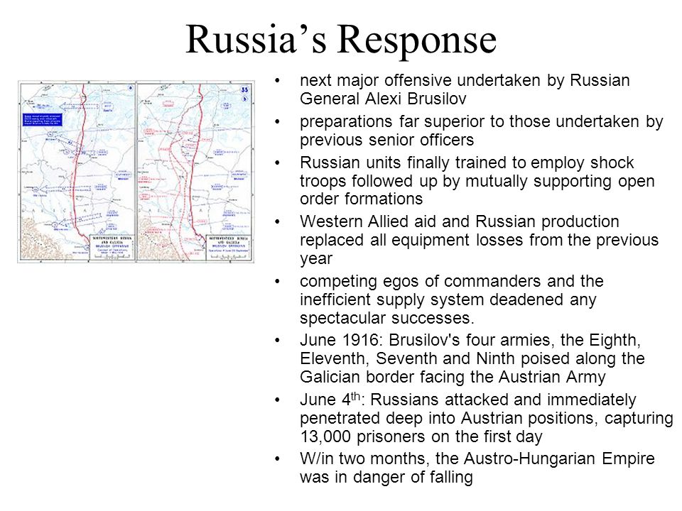 Russia's Response next major offensive undertaken by Russian General Alexi Brusilov.