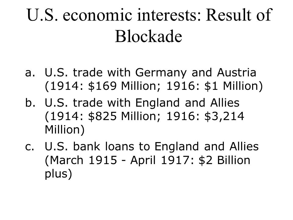 U.S. economic interests: Result of Blockade
