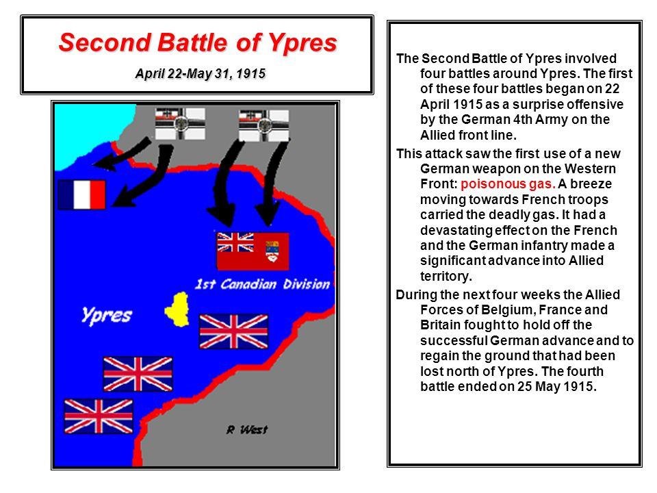 Second Battle of Ypres April 22-May 31, 1915