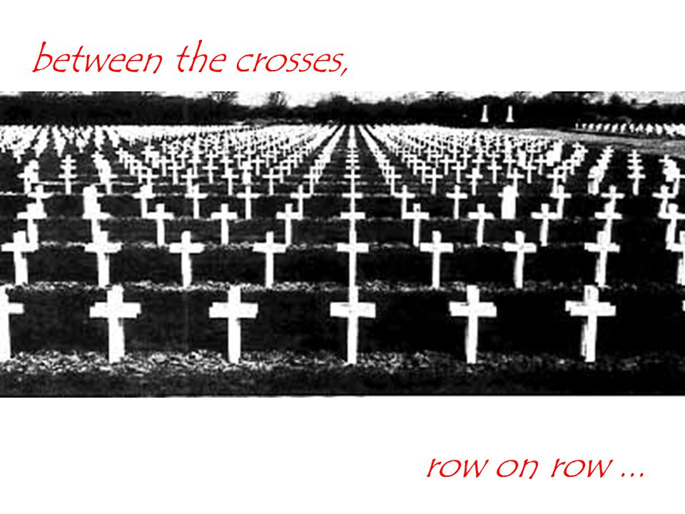 between the crosses, row on row ...