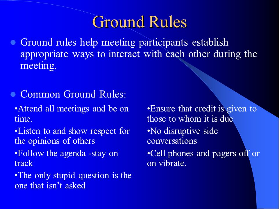 Explain how to establish ground rules