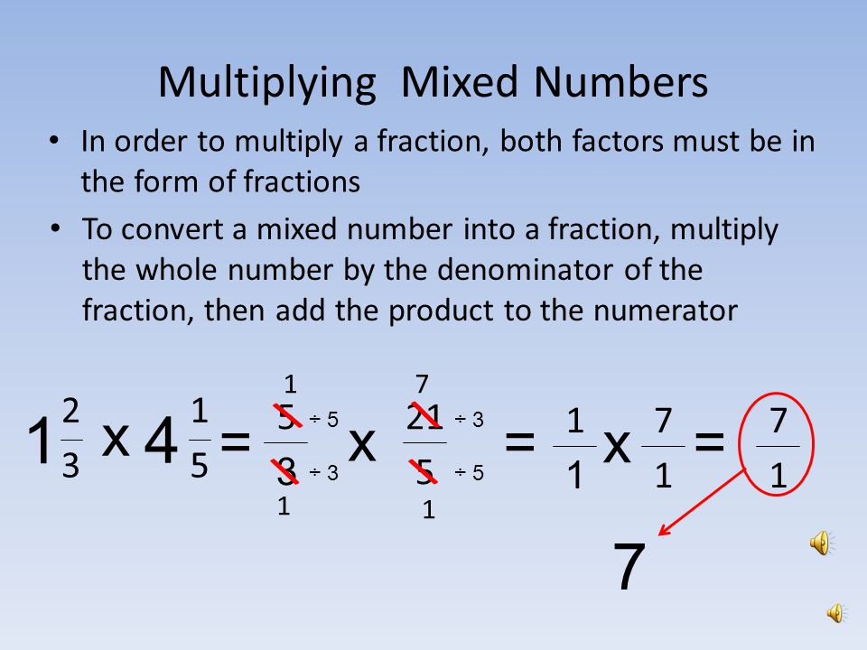 Multiplying Fractions, Whole Numbers and Mixed Numbers - ppt download