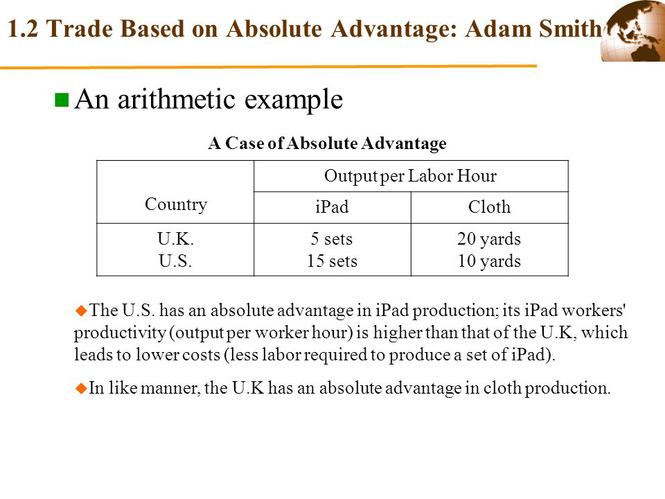 adam smith theory of absolute advantage In the theory of international trade, a country or firm has an absolute advantage if it can produce a product (good or service) more 'efficiently' (cheaply) than others first suggested by the uk economist adam smith (1723-90) as.