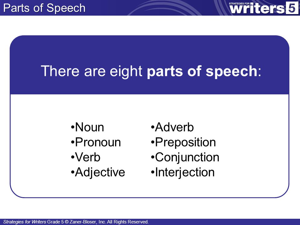 There are eight parts of speech: