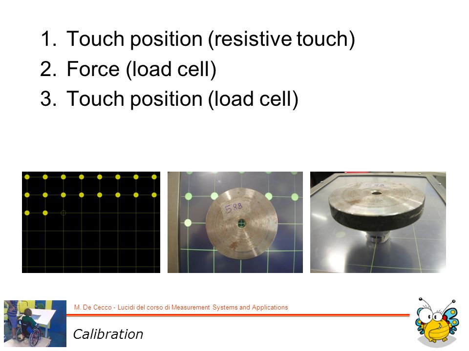 Touch position (resistive touch) Force (load cell)