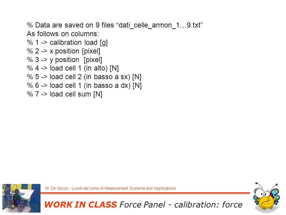 WORK IN CLASS Force Panel - calibration: force