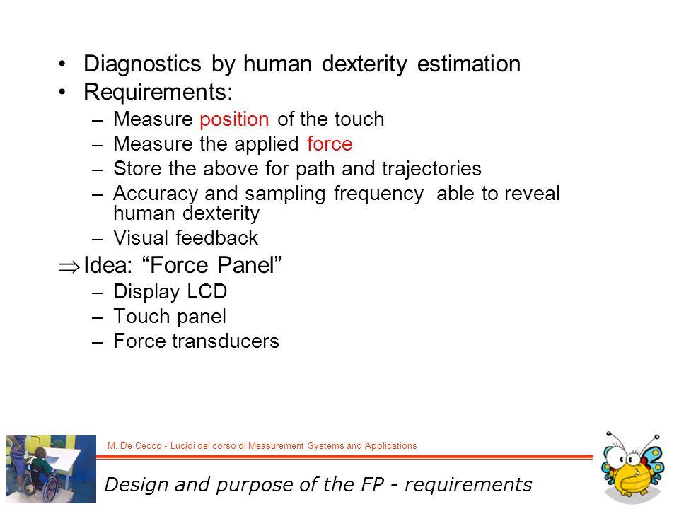 Diagnostics by human dexterity estimation Requirements: