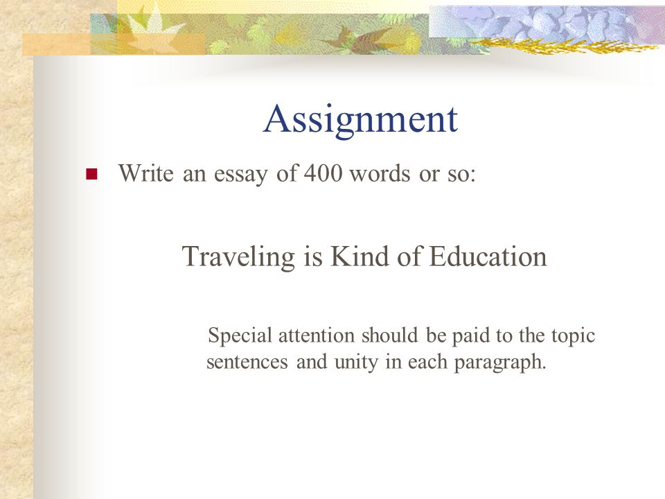 essay on travelling is a part of education Follow 2 answers i would like to have an sample essay on topic 'travelling as a part of education.