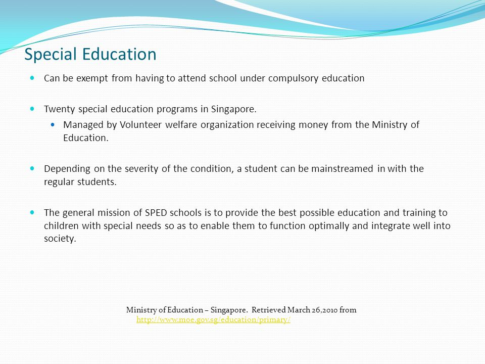 purpose of education in singapore This goal in singapore, project work, ministry of education, 1999  states the  school library is central to the fulfillment of the goals and objectives of the.