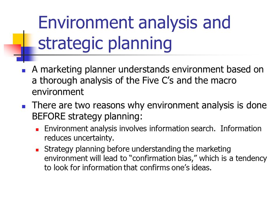 environmental analysis marketing strategy A pestel analysis is a framework or tool used by marketers to analyse and monitor the macro-environmental (external marketing environment) factors that have an impact on an organisation the result of which is used to identify threats and weaknesses which is used in a swot analysis.
