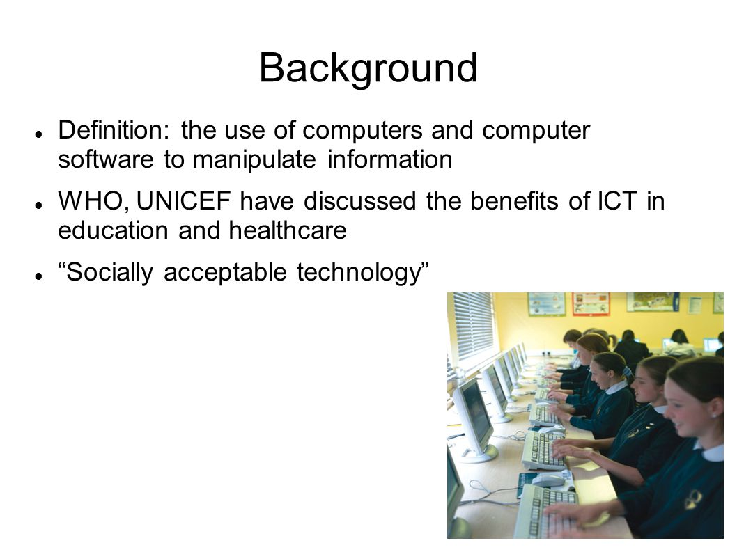 Background Definition: the use of computers and computer software to manipulate information.