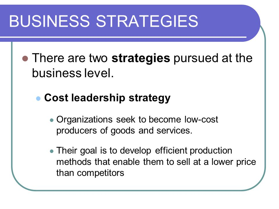 BUSINESS STRATEGIES There are two strategies pursued at the business level. Cost leadership strategy.