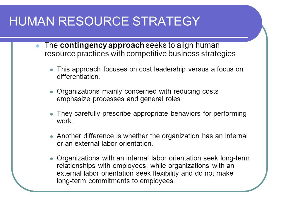 HUMAN RESOURCE STRATEGY