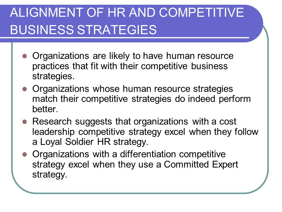 ALIGNMENT OF HR AND COMPETITIVE BUSINESS STRATEGIES