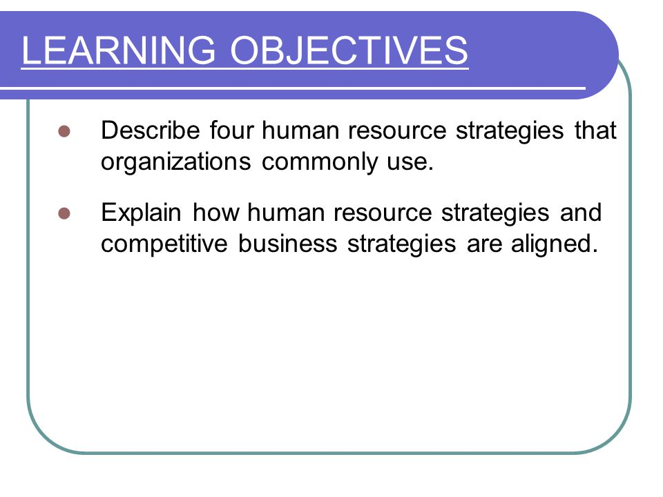 LEARNING OBJECTIVES Describe four human resource strategies that organizations commonly use.