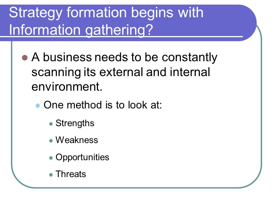 Strategy formation begins with Information gathering