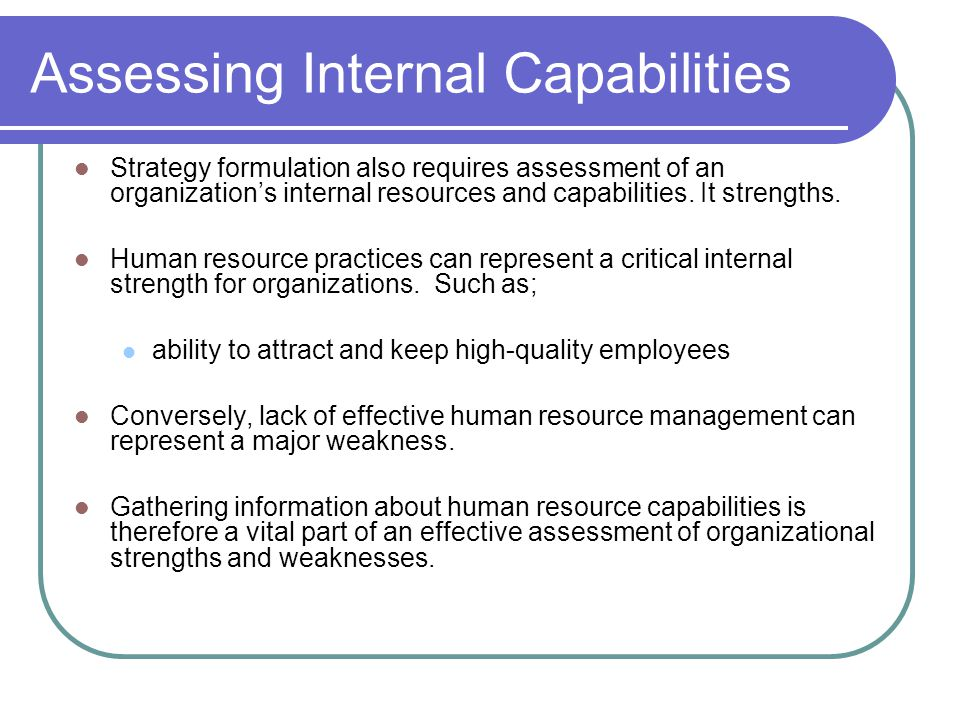 Assessing Internal Capabilities