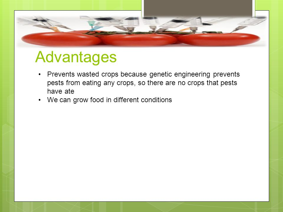 Advantages Prevents wasted crops because genetic engineering prevents pests from eating any crops, so there are no crops that pests have ate.