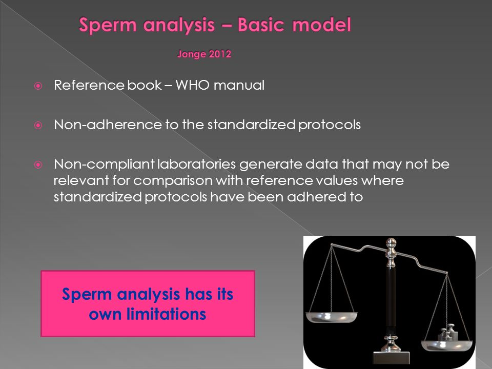 Sperm analysis – Basic model Jonge 2012