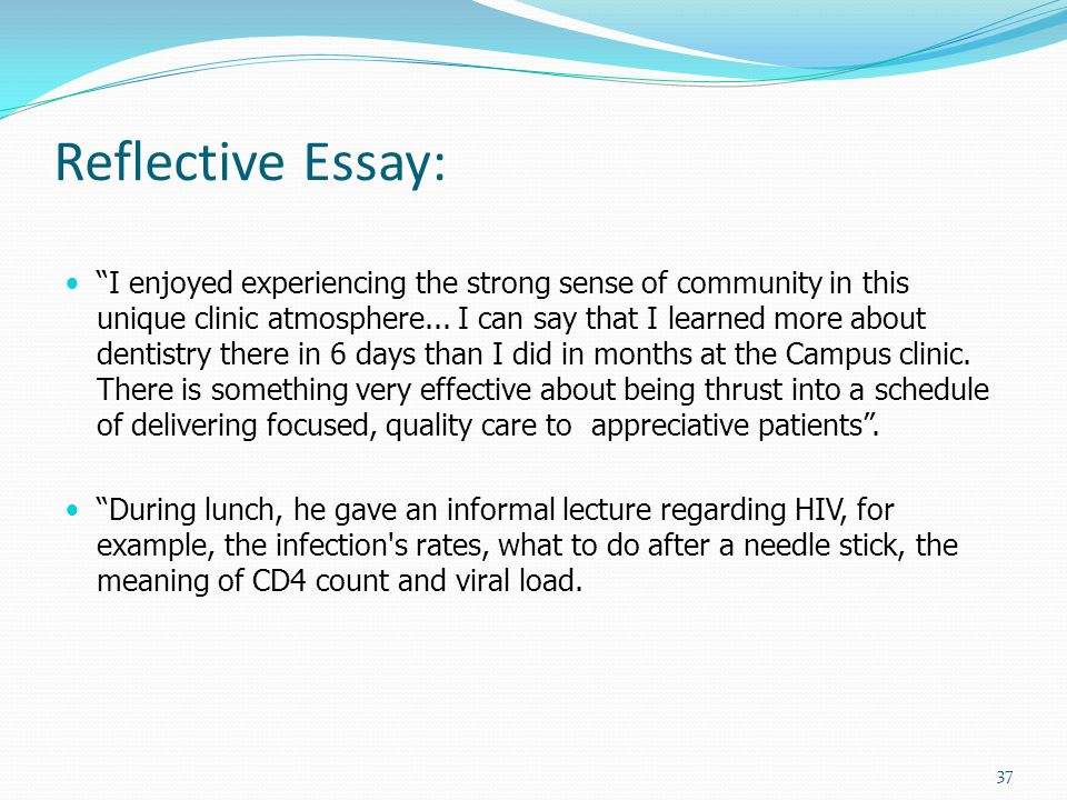 reflective clinical practice essay