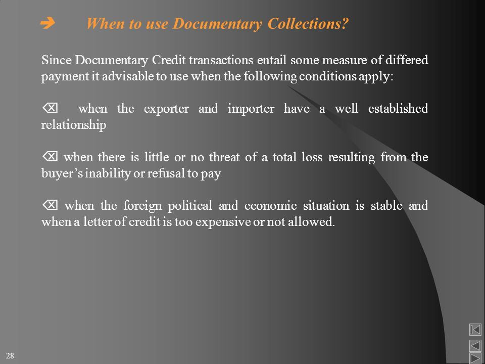 documentary credit involvement and role of Issues involved in letter of credit disputes: nonconformity of documentary  189,  191 (1980), note, the role of standby letters of credit in.