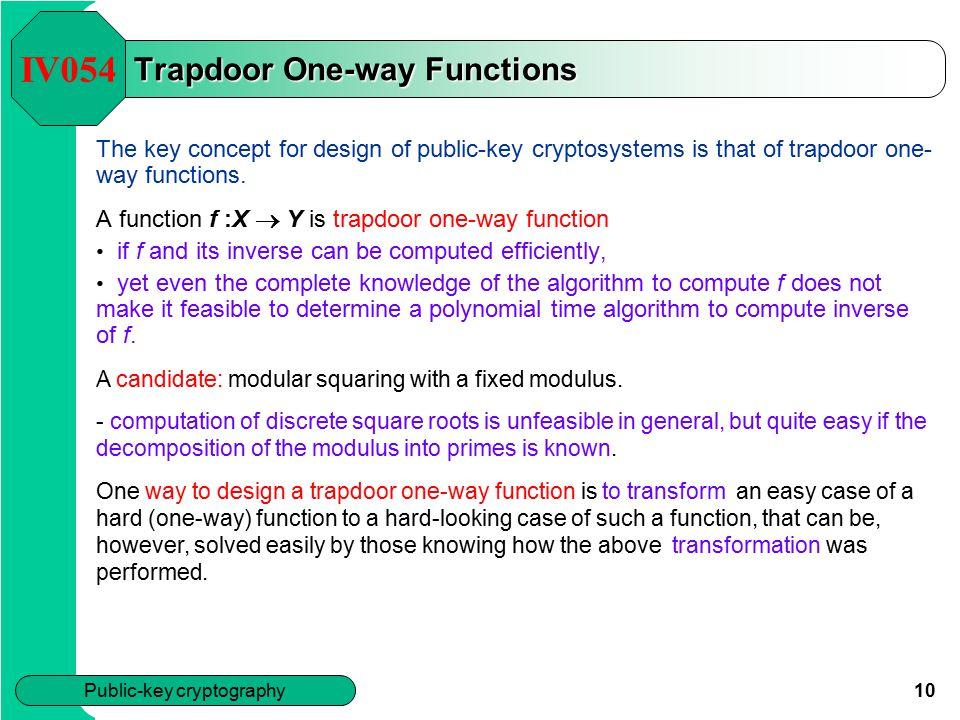 Trapdoor One-way Functions