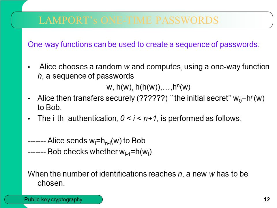 LAMPORT's ONE-TIME PASSWORDS