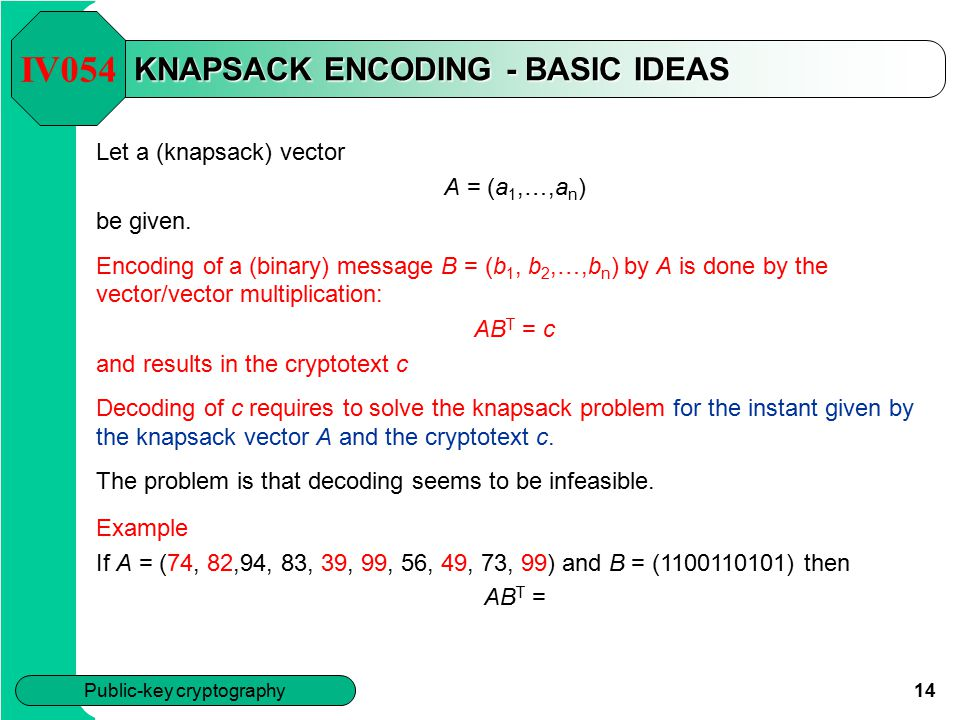KNAPSACK ENCODING - BASIC IDEAS
