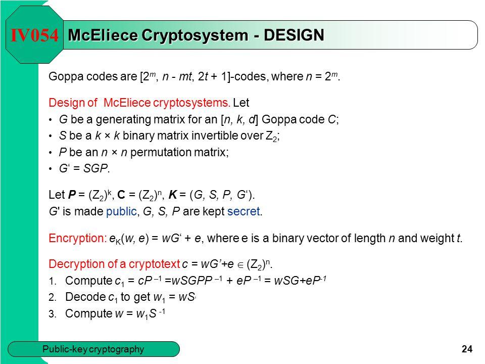 McEliece Cryptosystem - DESIGN
