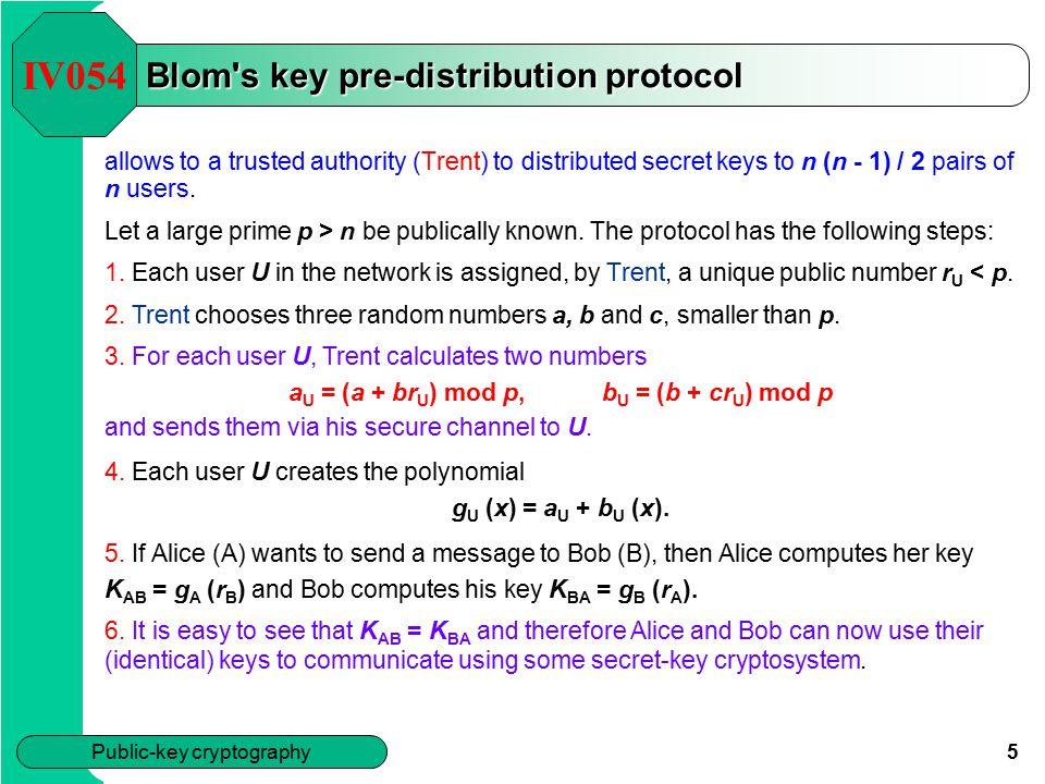 Blom s key pre-distribution protocol