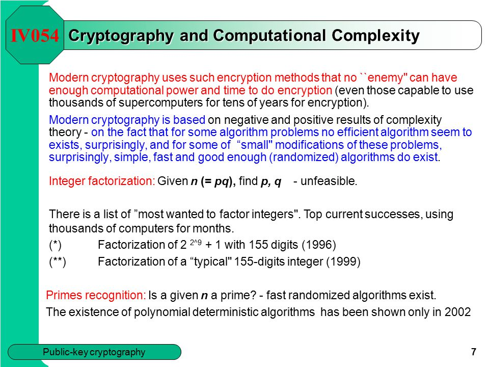 Cryptography and Computational Complexity