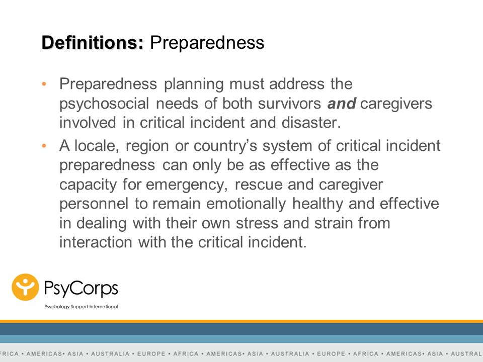 Definitions: Preparedness