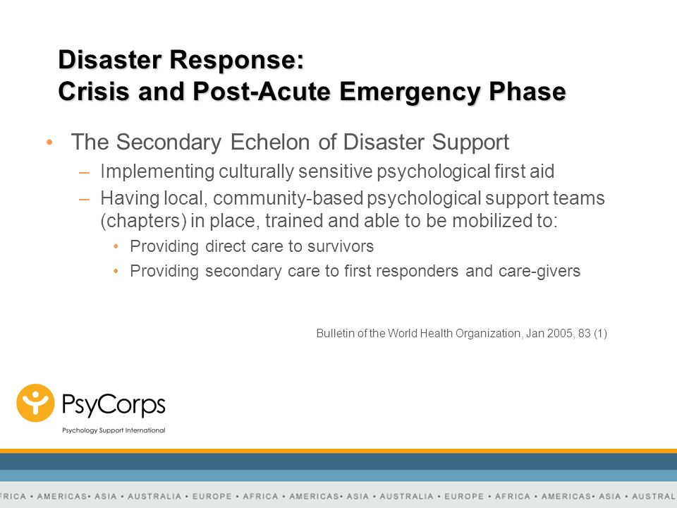 Disaster Response: Crisis and Post-Acute Emergency Phase