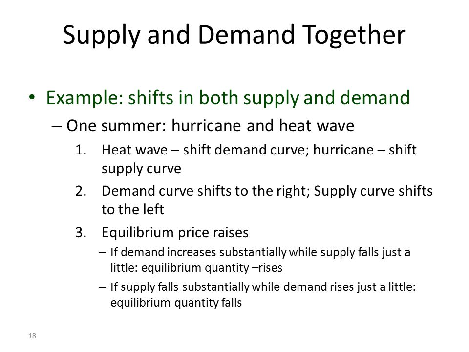 supply and demand example of To solve for equilibrium price, set up the equation using the demand and supply slopes you are given for example, d = 50 - 3p s = 14 + 3p will become 50 - 3p = 14 + 3p, since the quantity.