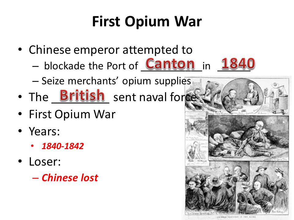 an overview of the first opium war of 1840 The first opium war  the second opium war (arrow war) ends 1899–1901 boxer rebellion 1820 1830 1840  61 overview 611 links with our times.