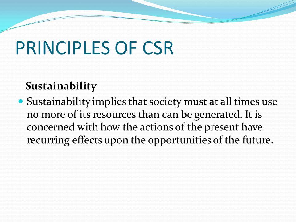 PRINCIPLES OF CSR Sustainability